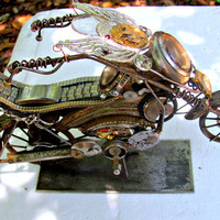 Motorcycle sculpture altered art steampunk antique watch parts  easy rider popping a wheelie/Fathers Day