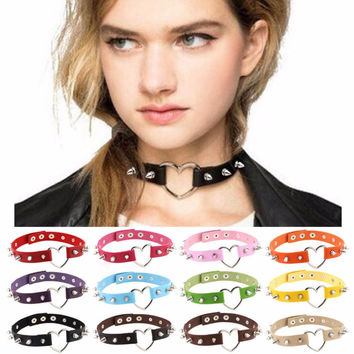 Spiked Heart Leather Collar Choker Necklace