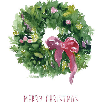 Watercolor Christmas Wreath - Set of 10 Christmas Cards