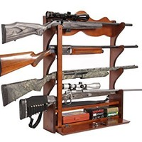 American Furniture Classics 840 4 Gun Wall Rack, Medium Brown