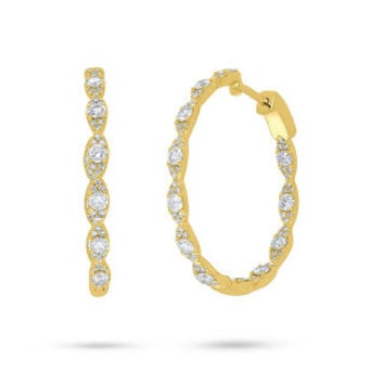 1.73ct 14k Yellow Gold Diamond Hoop Earring