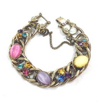 Chunky Pastel Kafin NY Bracelet, Easter Egg Pink Lavender Yellow Glass Cabs, Small Rhinestones, Goldtone Chain, 1950s Vintage Spring Jewelry
