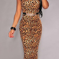 Sleeveless Leopard Print Bodycon Dress