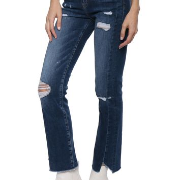 Flying Monkey High Rise Uneven Hem Crop Straight Jeans
