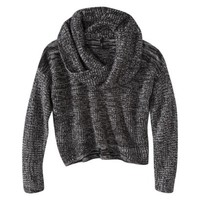 labworks Petites Long-Sleeve Sweater w/Removable Cowl - Black/White