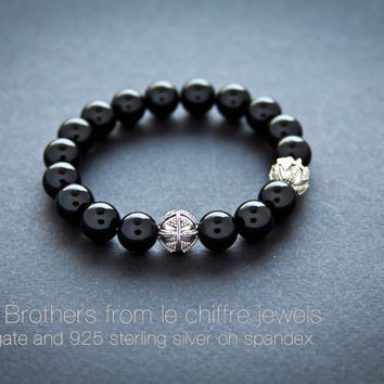 Three brothers agate silver bracelet