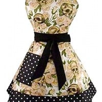 """Skulls and Roses"" Two Tier Apron by Hemet (Cream)"
