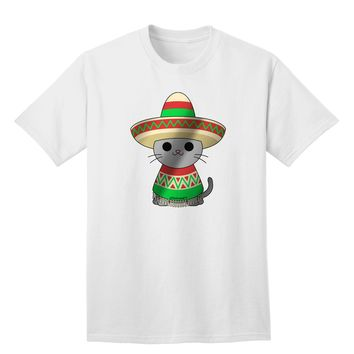 Sombrero and Poncho Cat - Metallic Adult T-Shirt by TooLoud