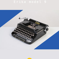 Rare 1952 Erika model 9 Typewriter. Restored & fully functional. East Germany. Glossy black. Portable. With Case.