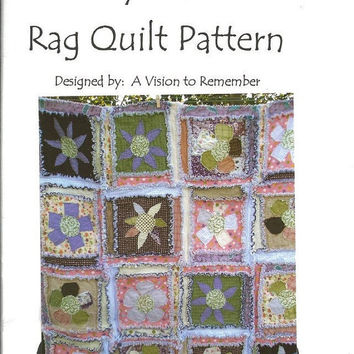 Clearance Sale 65% Off PATTERN, Rag Quilt, Flower Applique, My Garden, MAILED