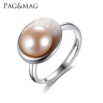 PAG&MAG New Arrival Cameo Shell Shape Pink Pearl Rings For Women Unique Design Hot Sell Fashion Ladies Ring free Jewelry Box