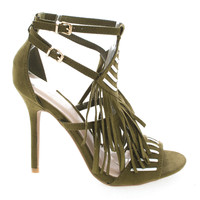 Adele206 OliveV F-Suede by Wild Diva, Olive Suede Open Toe Two Tone Strappy Southwestern Fringe Stiletto Heels