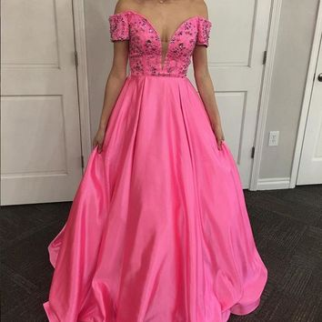 Off Shoulder Short Sleeve Plunging Neckline Pink Prom Dress