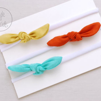 Colourful Set Thin Top KNOT Headband Bow Headband You PICK Toddler Headband Set Headband Baby Bow Headband Knot Headband