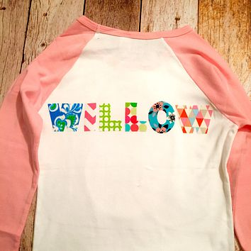 Girls pink flower birthday shirt Custom monogram applique words Personalized Add NAME Nickname, Initials, Baseball Shirt, Letters boys girl