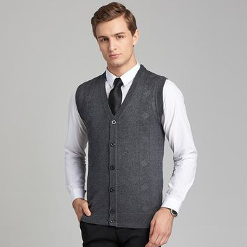 single breasted wool Sweater Vest 2017 mens clothing Autumn and Winter New Casual pure Color V Neck Men Sleeveless Cardigan