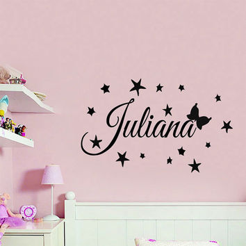 Wall Decals Vinyl Decal Sticker Custom Personalized Name Girl Fairy Stars Butterfly Mural Interior Design Kids Nursery Baby Room Decor KT85