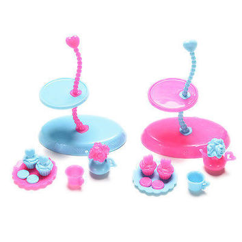 4 Pcs/set Food Display Stand for Barbie with Tray Cup Kettle  Furniture S4