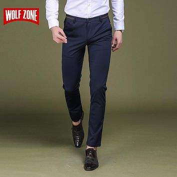 Pants Men Pantalones Hombre Trousers Business Trousers Brand Clothing Mens Mid Straight Full Length Casual Skinny Top Fashion
