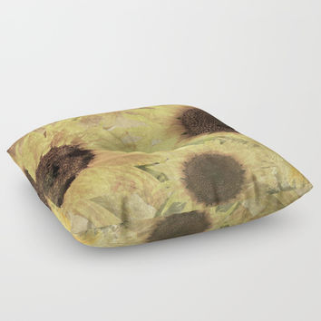 Wallflowers Floor Pillow by Theresa Campbell D'August Art