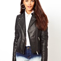 River Island | River Island Cropped Leather Jacket at ASOS