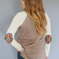 Embroidered Elbow Patch Sweater
