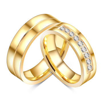 Wedding Bands Rings For Love 18K Gold Plated CZ Diamond & Zirconia Stainless Steel Ring For Wedding Jewelry GLRI0045