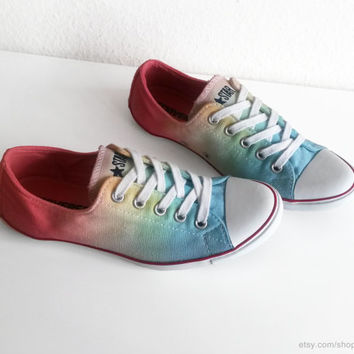 Soft rainbow ombre dip dye Converse Lite, transformed vintage plimsolls, multicolour sneakers, low tops, Chucks, size 37 (UK 4, US wo's 6)