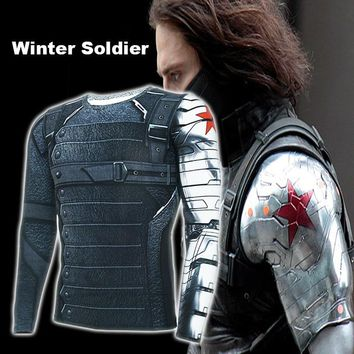 Christmas  Captain America Winter Soldier Avengers 3 Compression T-Shirt Men Long Sleeve Fitness Tee Male Clothing Tops
