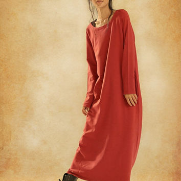 Maxi Red Dress, Long Winter Dress, Oversize Kaftan Dress / Long Dress in red / Tunic Dress