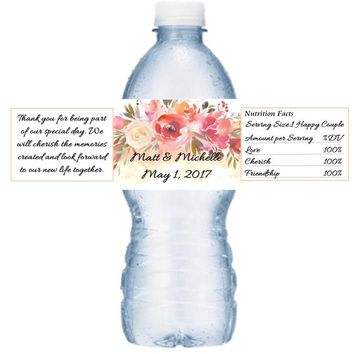21 Peach Floral Wedding Water Labels