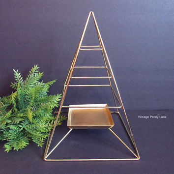 Vintage Brass Wire Pyramid Candle Holder, Geometric Metal Display Stand