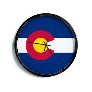 "Bruce Stanfield ""Flag of Colorado II"" Blue Red Modern Wall Clock"