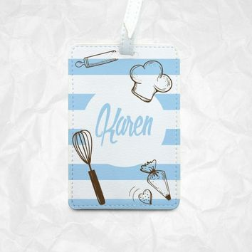 Kitchen icons Personalized Luggage Tag, Personalized Bag Tag, Personalized Backpack Tag, Personalized Kids Bag Tag, Personalized Gift