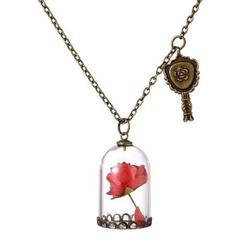 Lovely Red Rose in Glass Vile Pendant Charm Necklace Fashion Vintage Look Gold Tone