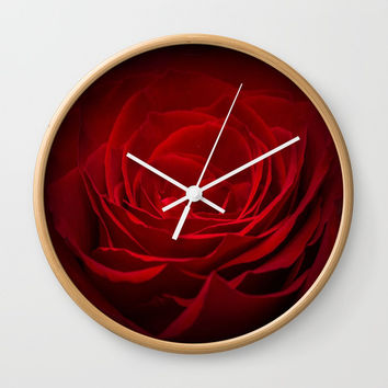 red flower Wall Clock by abeerhassan