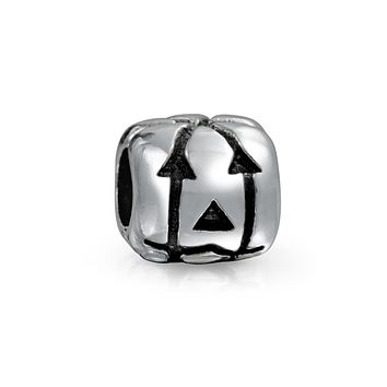 Jack O Lantern Halloween Pumpkin Square Charm Bead Sterling Silver