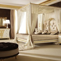 Canopy bed with upholstered headboard GOLD & DIAMOND Gold & Diamond Collection by Gotha Luxury Italian Style