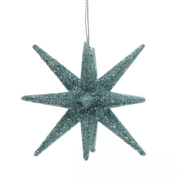 Holiday Ornaments STARBURST Plastic Christmas Glittered T2445 Teal