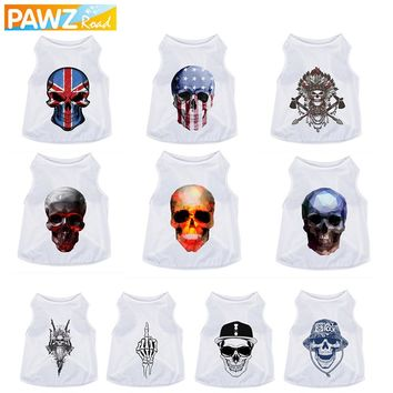 Pet Dog Vest 3D Printed Dog Summer Clothes Clothing for Dog T-Shirt Cos-Play Funny Skull Pattern Unique Design Cat