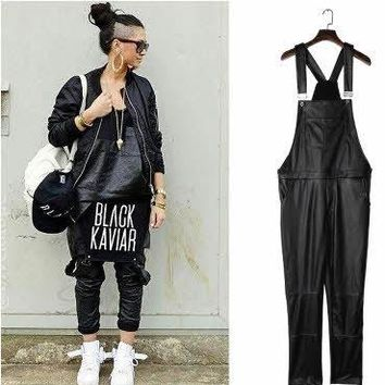 Siamese Faux Leather Overalls