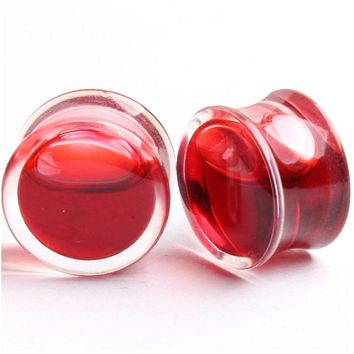 1 Pair Hot Sell Blood Red Liquid Filled Ear Plugs Flesh Tunnels Gauge Saddle Ear Reamer Expander For Women Creative Body Jewelry