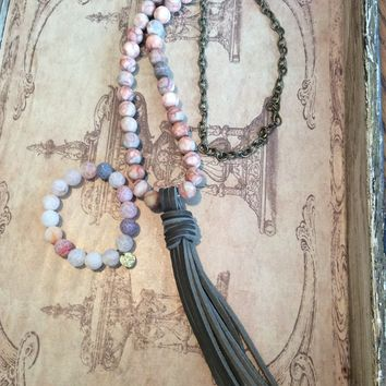 Southern Stone Co. Stone & Leather Necklace