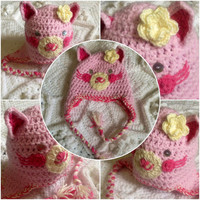 Hand Crochet Thick Snuggly Adorable Pink Kitty by OnceUponACraft4U