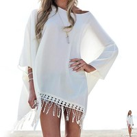 New  Women Swimsuit Cover Up Chiffon Summer Beach Dress Women Tassels Bikini Bathing Suit Cover Ups Beach Wear Pareo