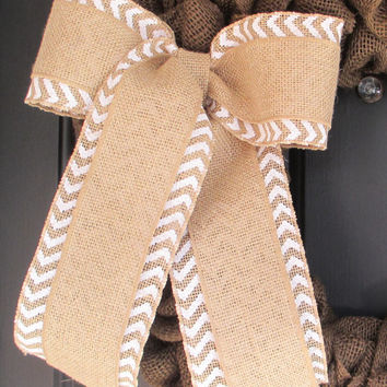 Natural over White Chevron Burlap Bow, Wedding, Pew Chair Bows, Spring, Easter, Fall Winter, Floral Bow, Chevron Bow