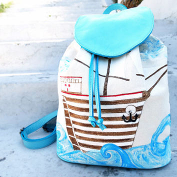 Hand painted backpack, Handpainted canvas bag, Leather and canvas backpack