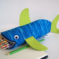 Tiger Shark by MinneBites - Treat Bag for Kids - Blue and Lime Green Handmade Shark Pencil Case - Kids Bag for Toys