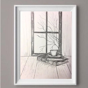 Original Pencil drawing, Black and white Book art, Coffee lover gift, original sketch, fall still life, graphite drawing, Coffee wall art