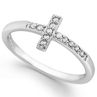 Cross Ring in Sterling Silver (1/10 ct. t.w.) Jewelry & Watches - Rings - Macy's